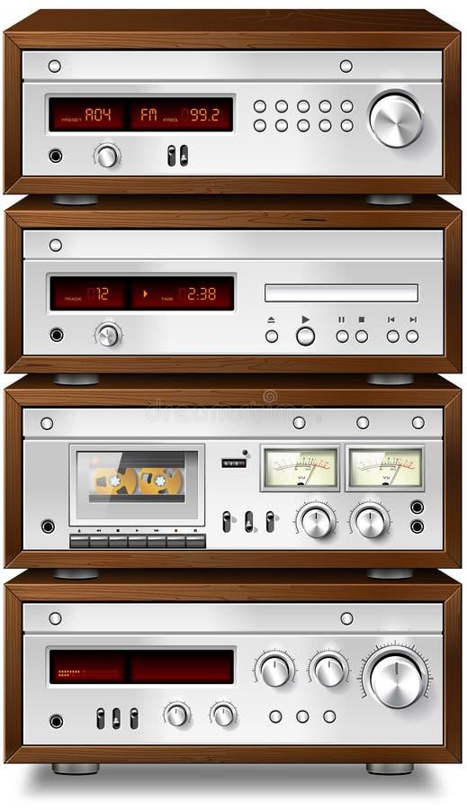 Leitor de cd estereofónico do afinador do amplificador da plataforma de gaveta ilustração do vetor