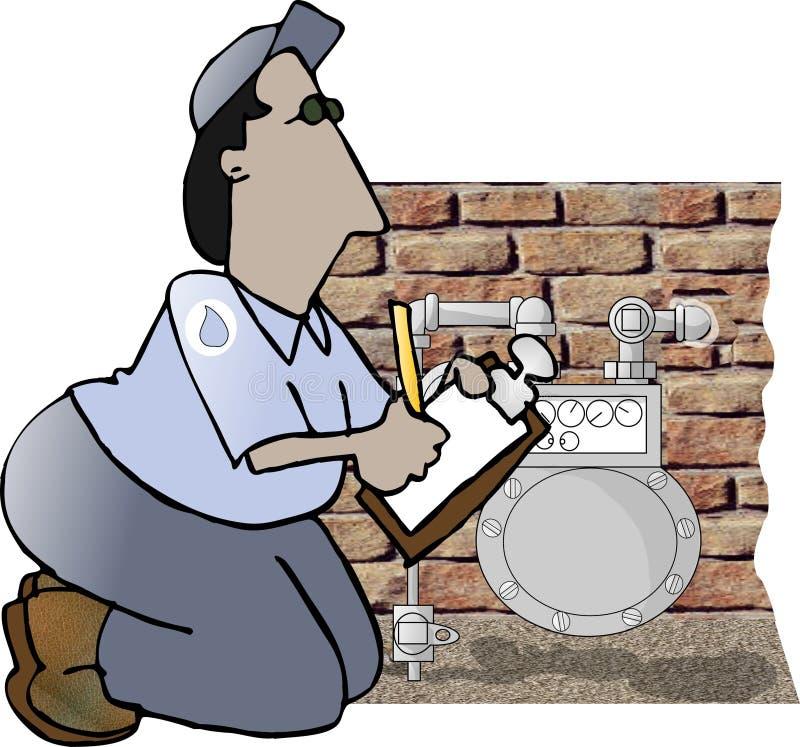 Leitor de medidor do gás ilustração do vetor