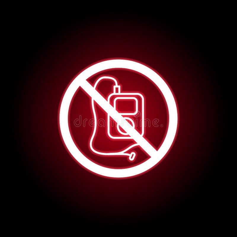 Leitor de mp3 proibido, ícone da música no estilo de néon vermelho Pode ser usado para a Web, logotipo, app m?vel, UI, UX ilustração do vetor