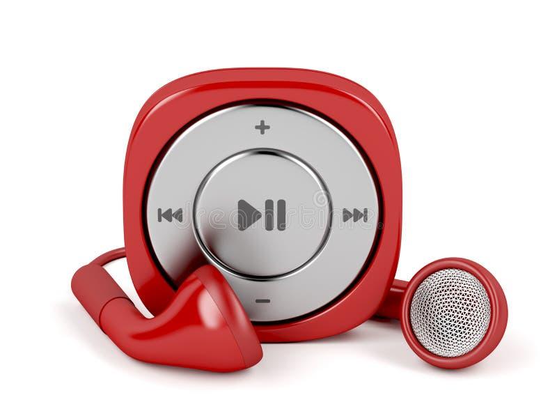 Leitor de mp3 vermelho e fones de ouvido prendidos ilustração do vetor