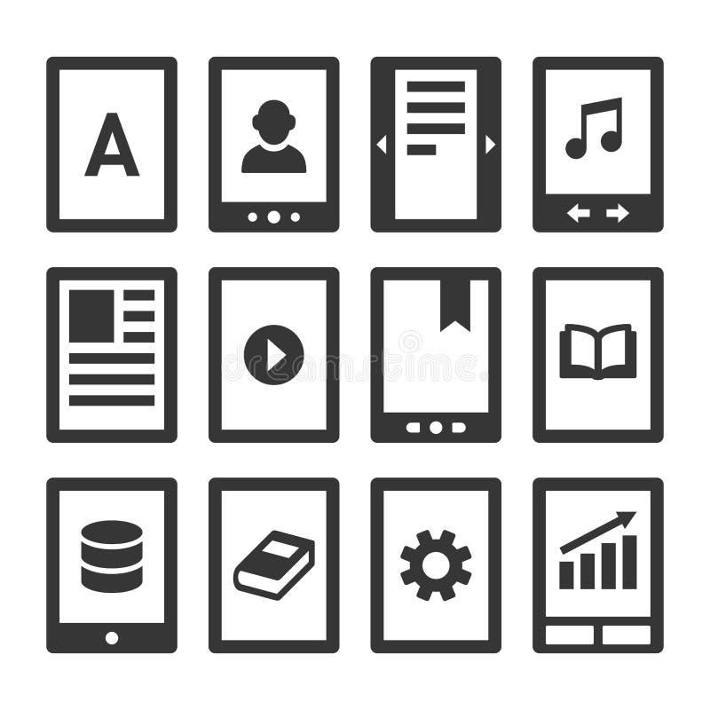 Leitor Icons Set de Digitas EBook Vetor ilustração do vetor