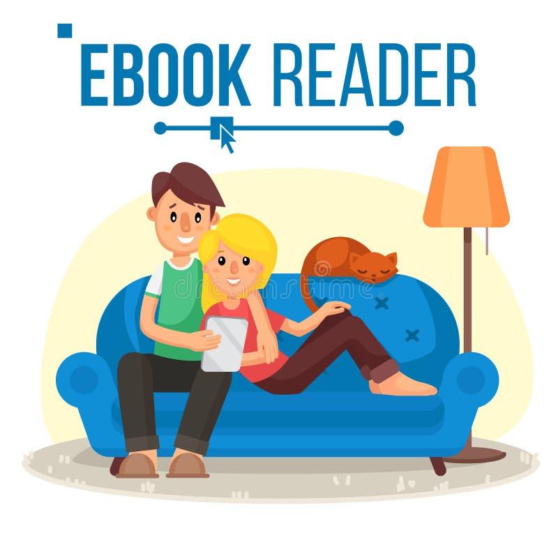 Leitor Vetora de EBook Ensino eletrónico Pares em casa Biblioteca em linha Usando Ebook Dispositivo alternativo Leitura com um E ilustração royalty free