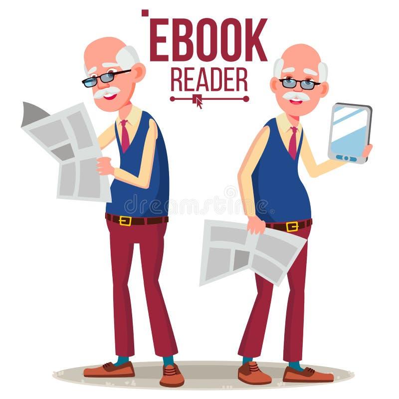 Leitor Vetora de EBook Homem idoso Livro de papel CONTRA EBook Ilustração lisa isolada dos desenhos animados ilustração royalty free