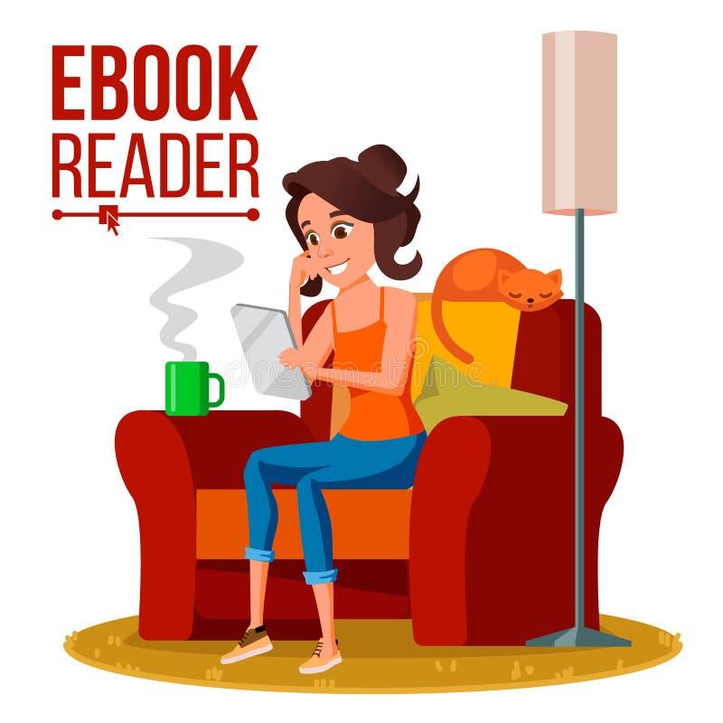 Leitor Vetora de EBook Menina Biblioteca em linha Usando Ebook Dispositivo eletrônico Ilustração lisa isolada dos desenhos animad ilustração stock