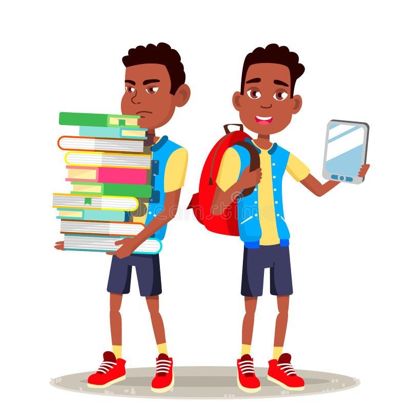 Leitor Vetora de EBook Menino, criança afro-americana Educação contemporânea Livro de papel CONTRA EBook Desenhos animados lisos  ilustração stock