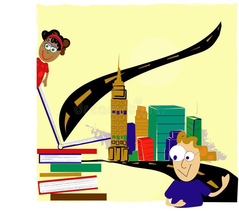 A leitura é uma aventura ilustração do vetor