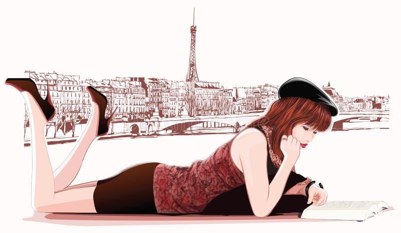 Leitura bonita nova da menina em Paris ilustração stock
