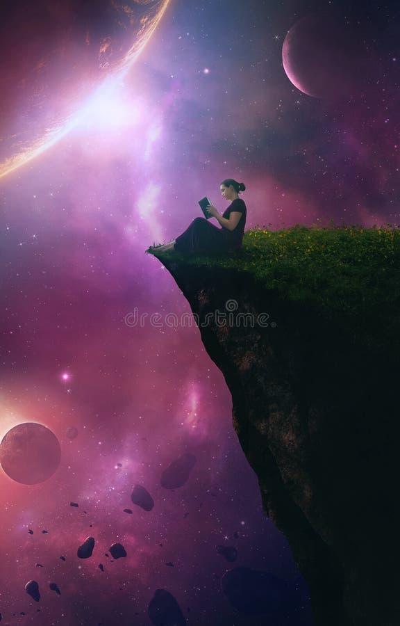 Leitura com céu noturno imagem de stock royalty free