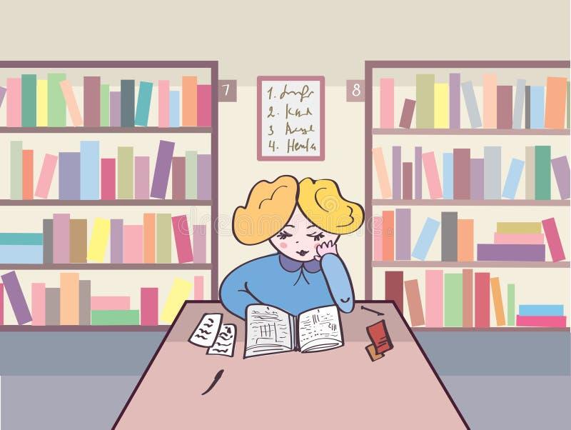 Leitura da criança na biblioteca ilustração royalty free
