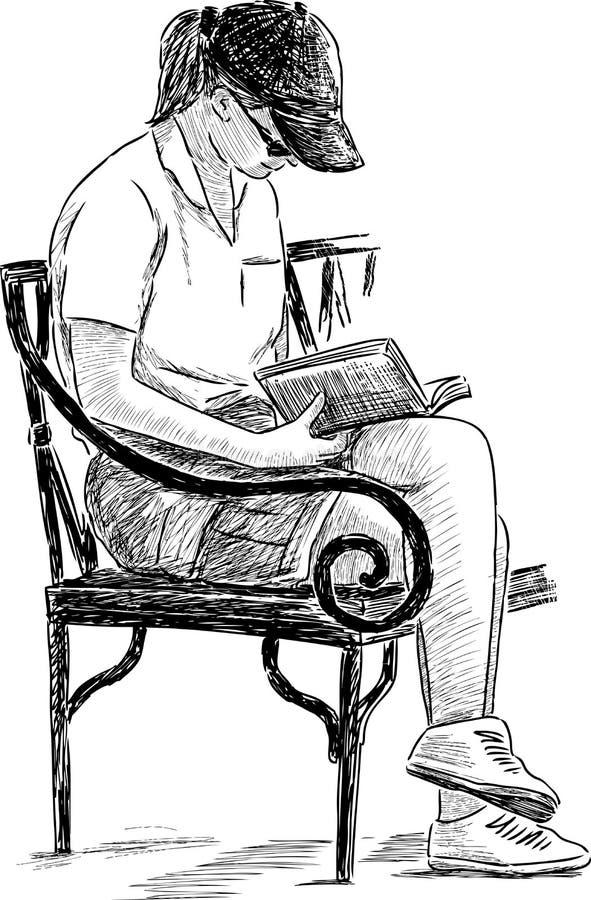 Leitura da menina em um banco de parque ilustração stock