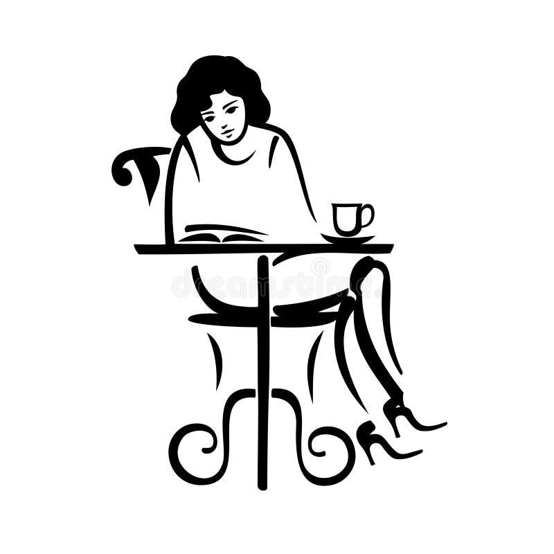 Leitura da menina em um café ilustração stock
