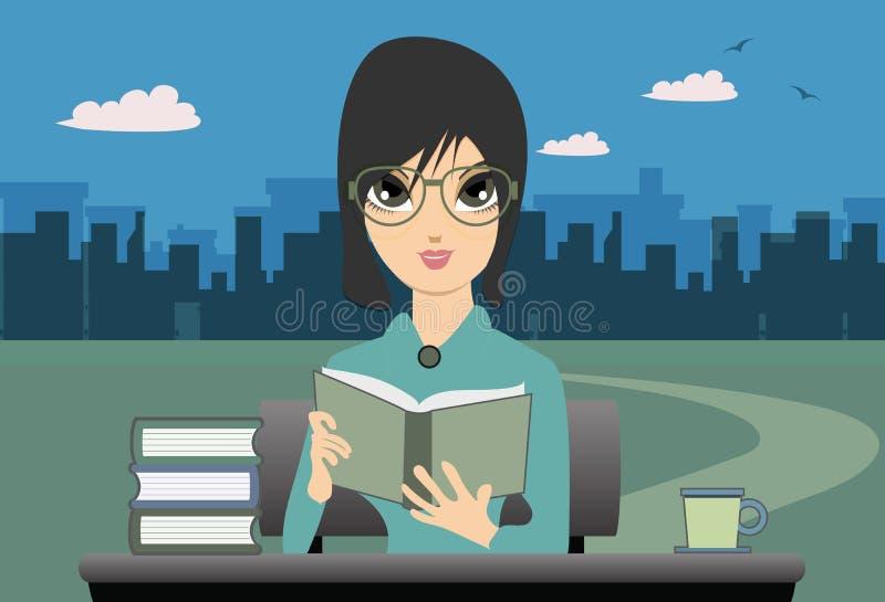 Leitura da mulher. ilustração stock