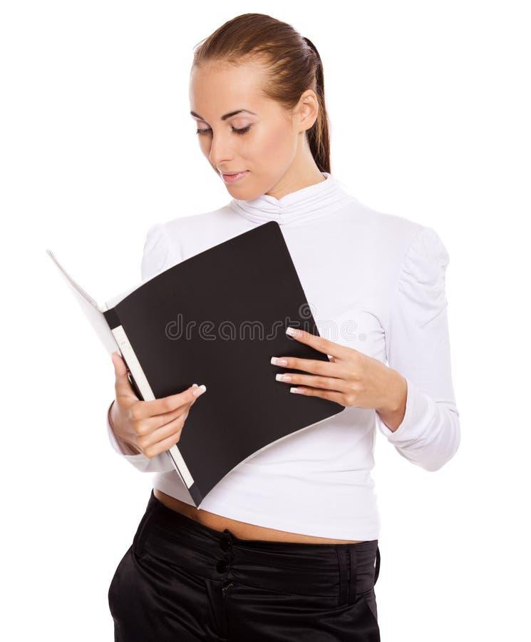 Leitura da mulher de negócios imagens de stock royalty free