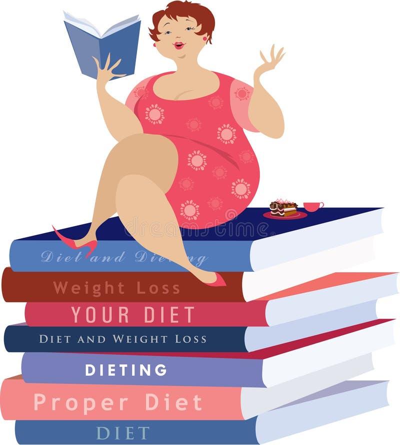 Leitura da mulher sobre a dieta ilustração royalty free