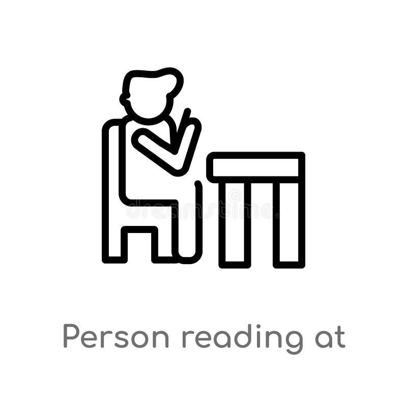 leitura da pessoa do esbo?o no ?cone do vetor do escrit?rio linha simples preta isolada ilustra??o do elemento do conceito dos po ilustração do vetor
