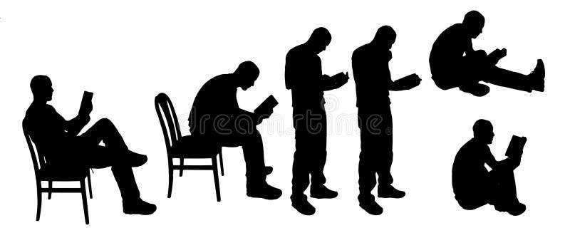 leitura da silhueta do vetor ilustração stock