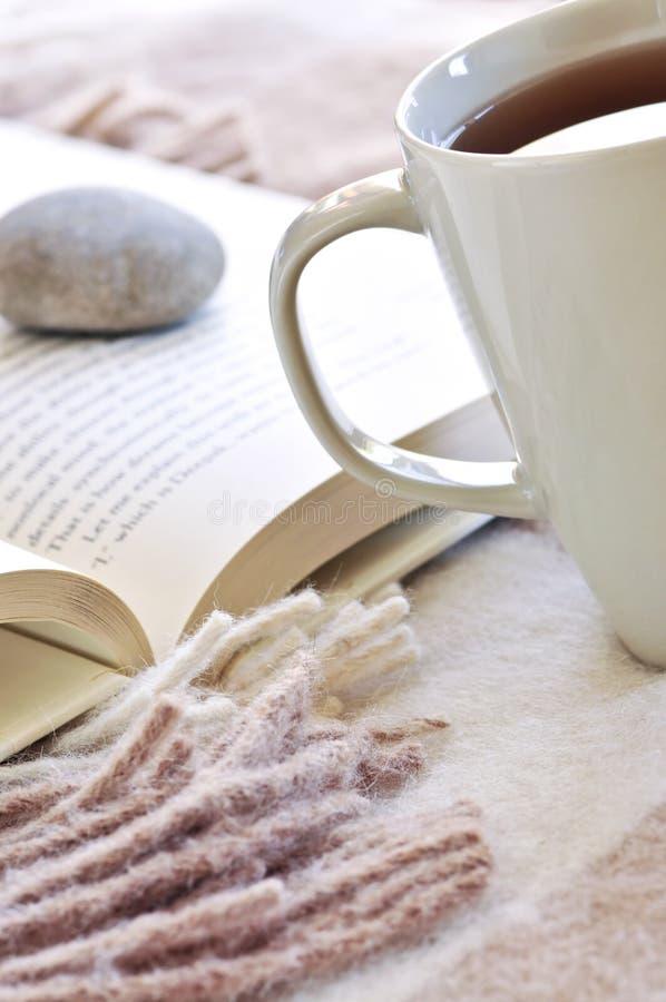 Leitura de relaxamento com chá imagens de stock royalty free
