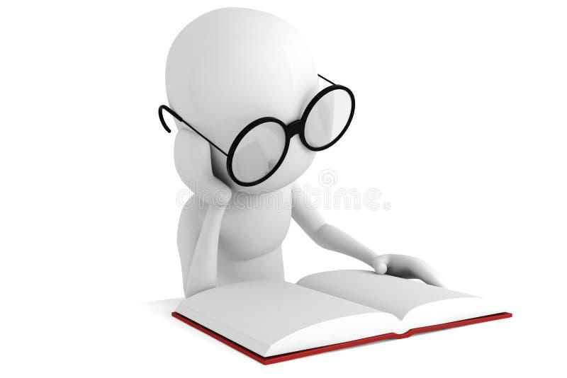 leitura do homem 3d ilustração royalty free