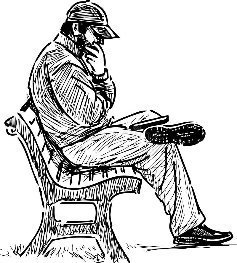 Leitura do homem em um banco de parque ilustração royalty free