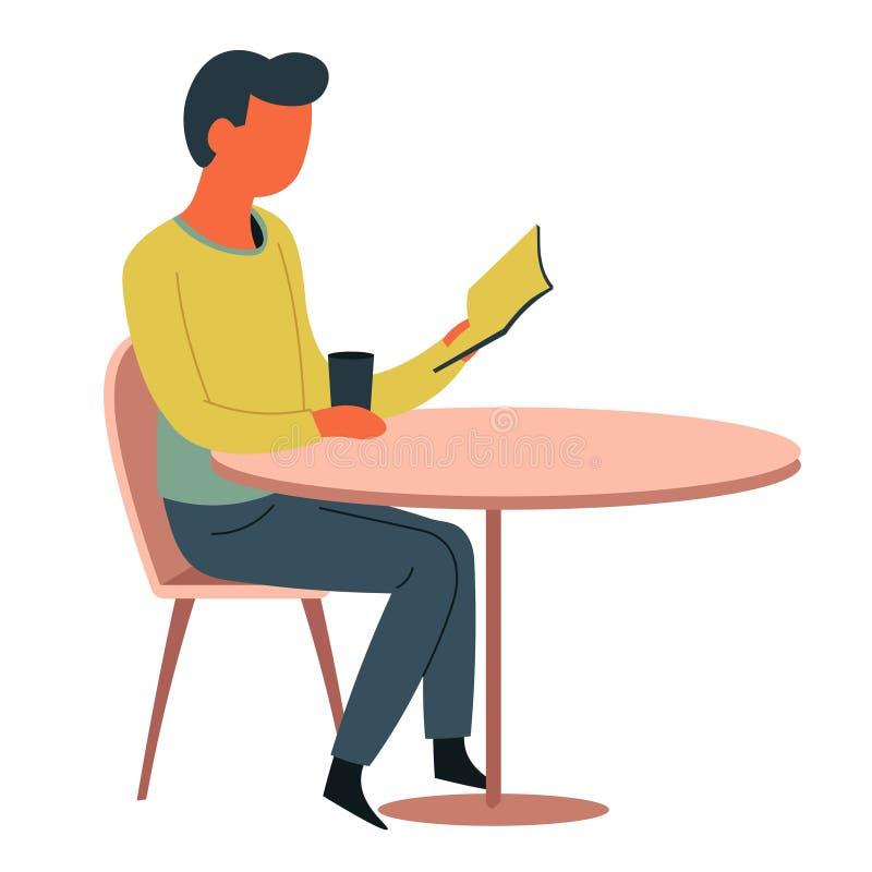 Leitura do homem no livro de tabela do café e no caráter isolado copo ilustração royalty free