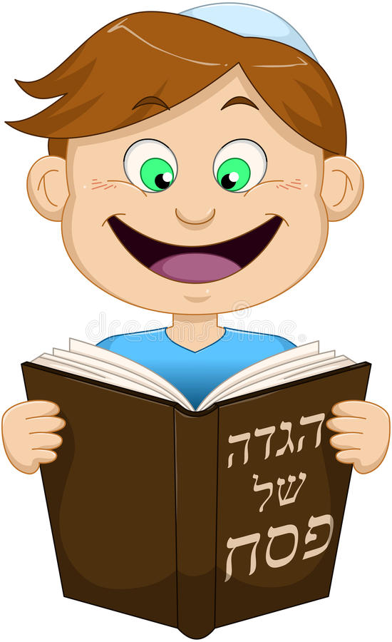 Leitura do menino do Hagadá para a páscoa judaica ilustração do vetor