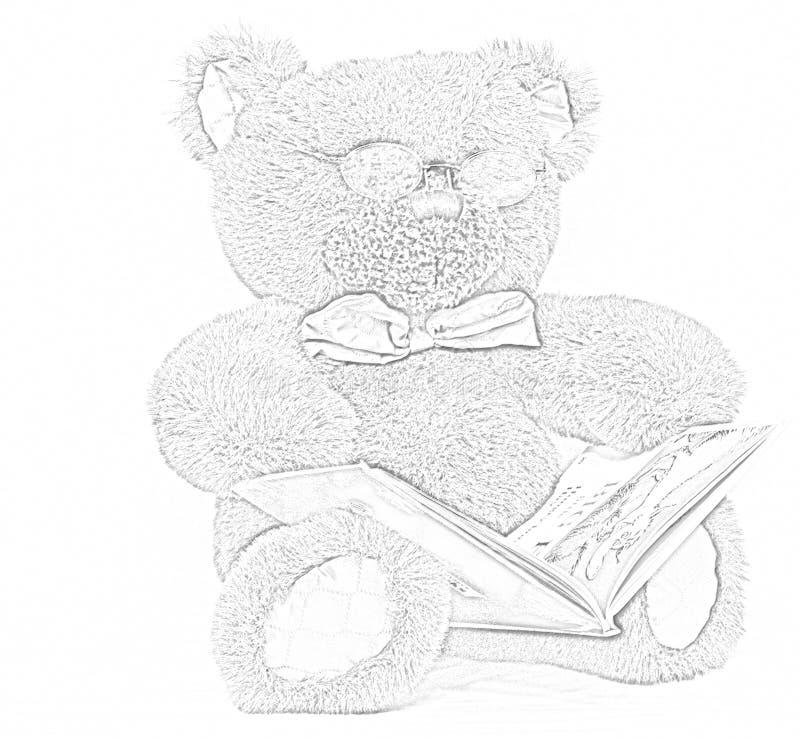 Leitura do urso da peluche foto de stock