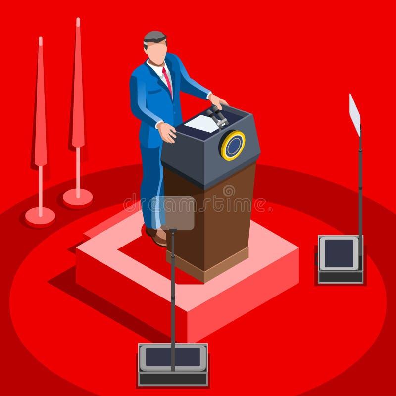 Leitura Hall Vetora Isometric People de Infographic da eleição ilustração royalty free