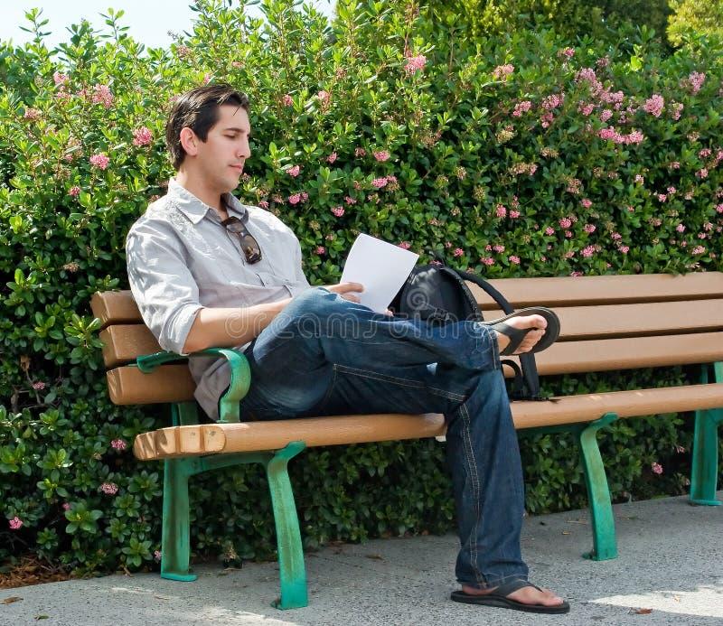 Leitura no banco de parque foto de stock