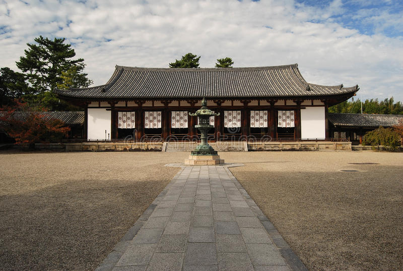 Leitura salão, templo de Horyuji foto de stock royalty free