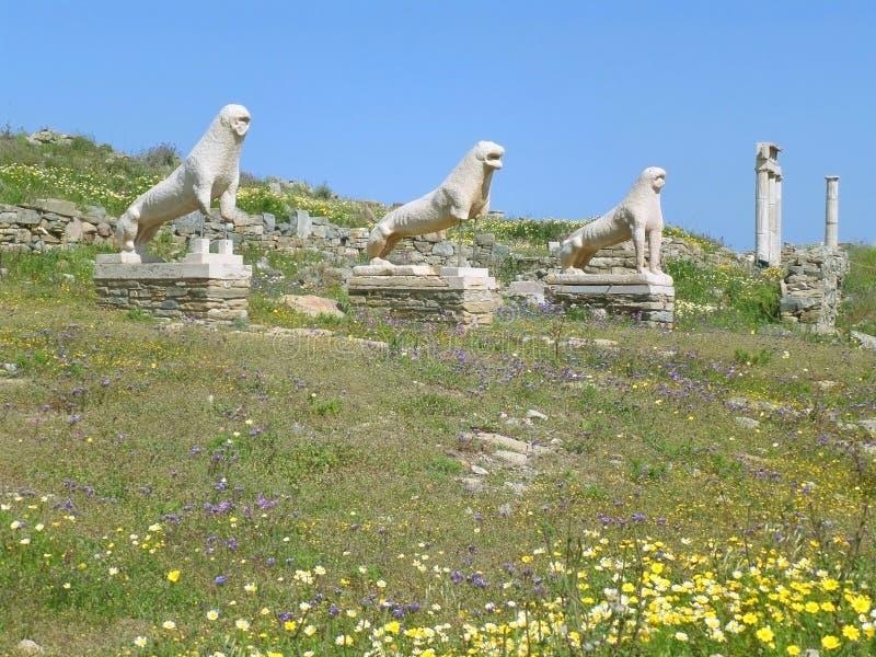 Lejon av Naxiansen, den forntida Lion Statues och fristaden på terrassen av lejonen, arkeologisk plats av Delos, Grekland arkivfoto