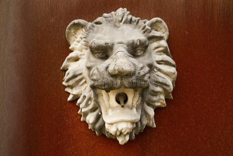 Lejon-huvud-formad stenvattenkastare på den rostade stålplattan fotografering för bildbyråer