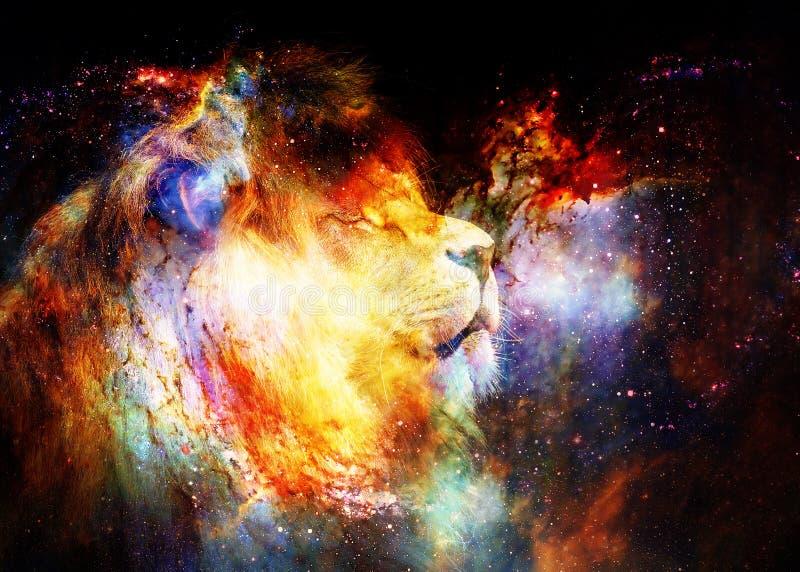 Lejon i det kosmiska utrymmet Lejonfoto och grafisk effekt stock illustrationer