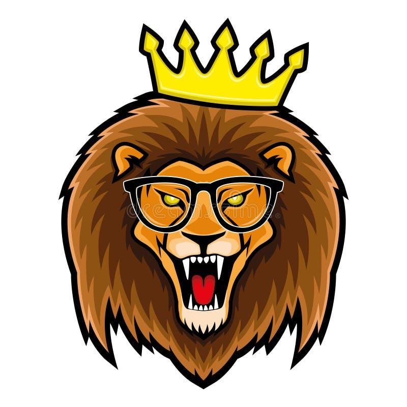 Lejon i exponeringsglas och krona vektor illustrationer