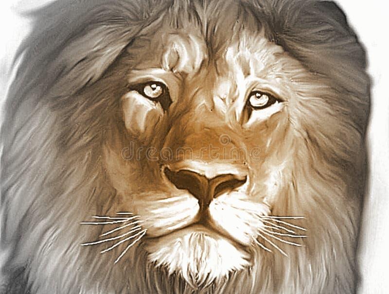 Lejon konungen av djungelgrå färgerna stock illustrationer