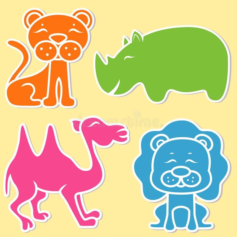 Lejon, lejoninna, noshörning och kamel royaltyfri illustrationer