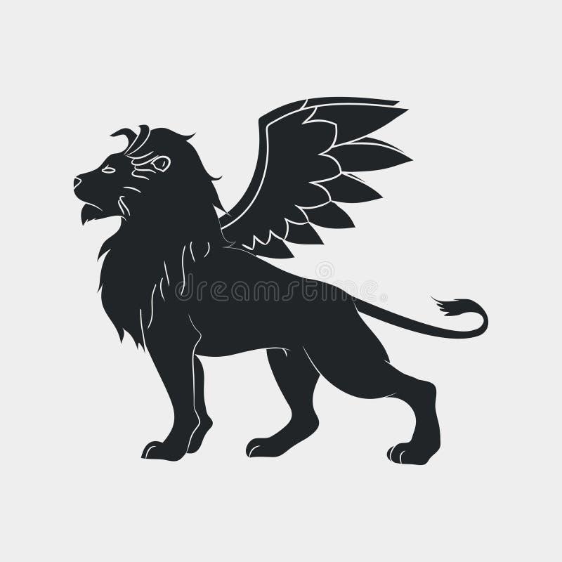 Lejon med vingsymbolen Bevingade leo, logomall vektor royaltyfri illustrationer