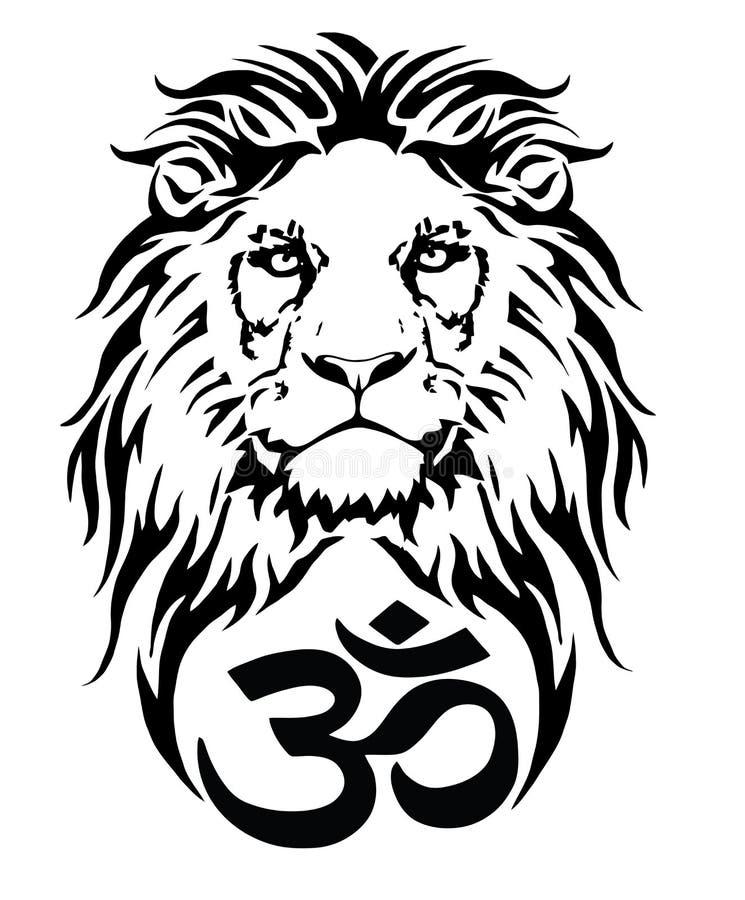 Lejon och symbolet av hinduiskt stock illustrationer