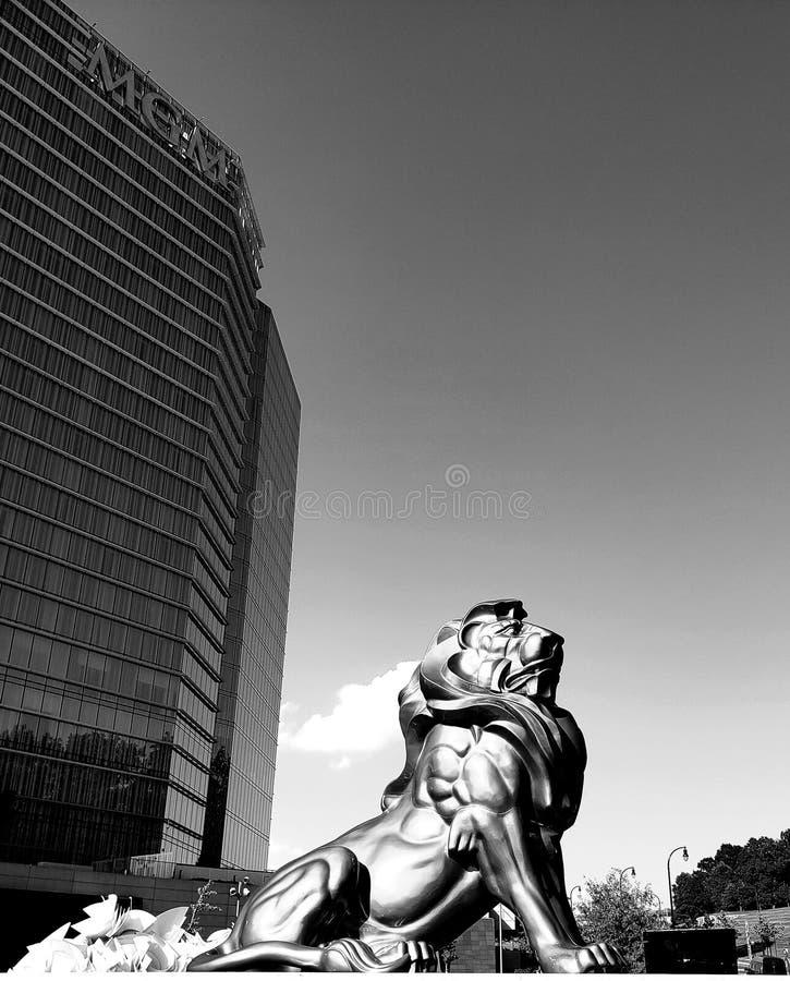 Lejon på den huvudsakliga ingången till Washington DC för MGM-semesterortkasino fotografering för bildbyråer