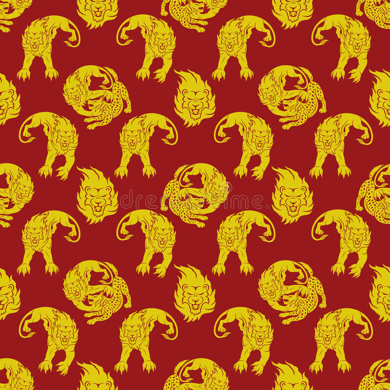 Lejon som anfaller en hyena royaltyfri illustrationer