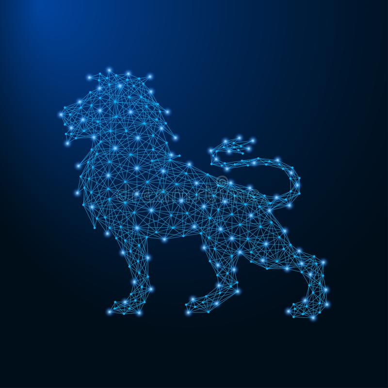 Lejon som göras av punkter och linjer, polygonal wireframeingrepp, låg poly djur illustration vektor illustrationer