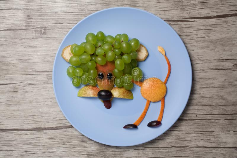 Lejon som göras med frukter på plattan och trä royaltyfria bilder