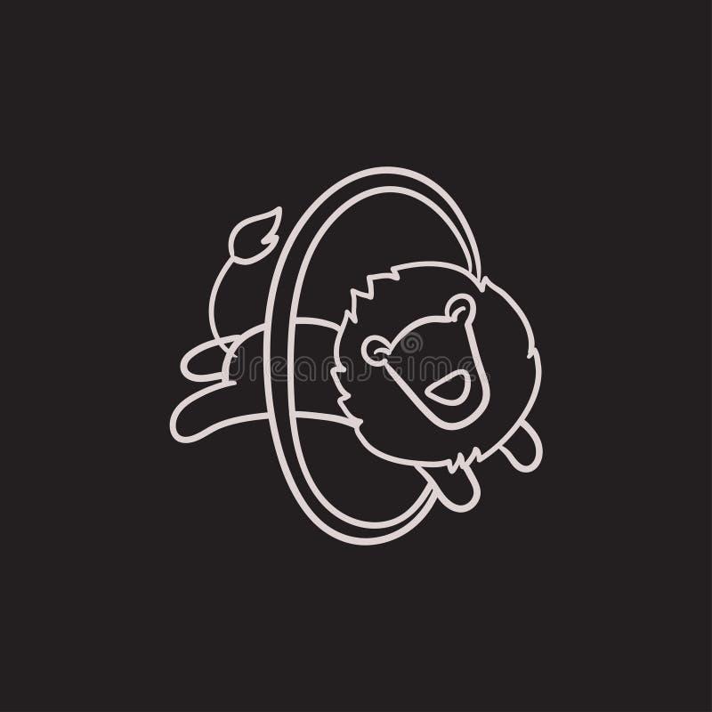 Lejonbanhoppningen till och med cirkeln skissar symbolen royaltyfri illustrationer