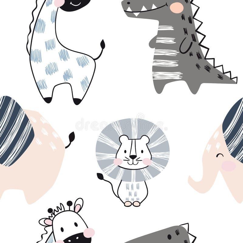 Lejonet giraffet, elefanten, krokodil behandla som ett barn den sömlösa modellen Skandinaviskt gulligt tryck stock illustrationer