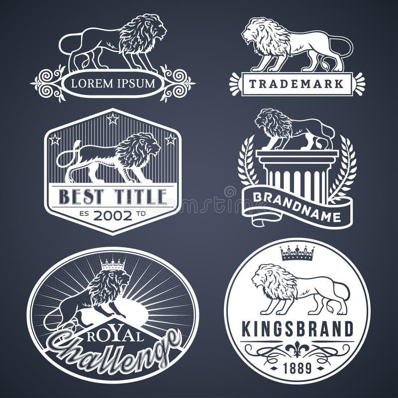 Lejonet märker vit stock illustrationer