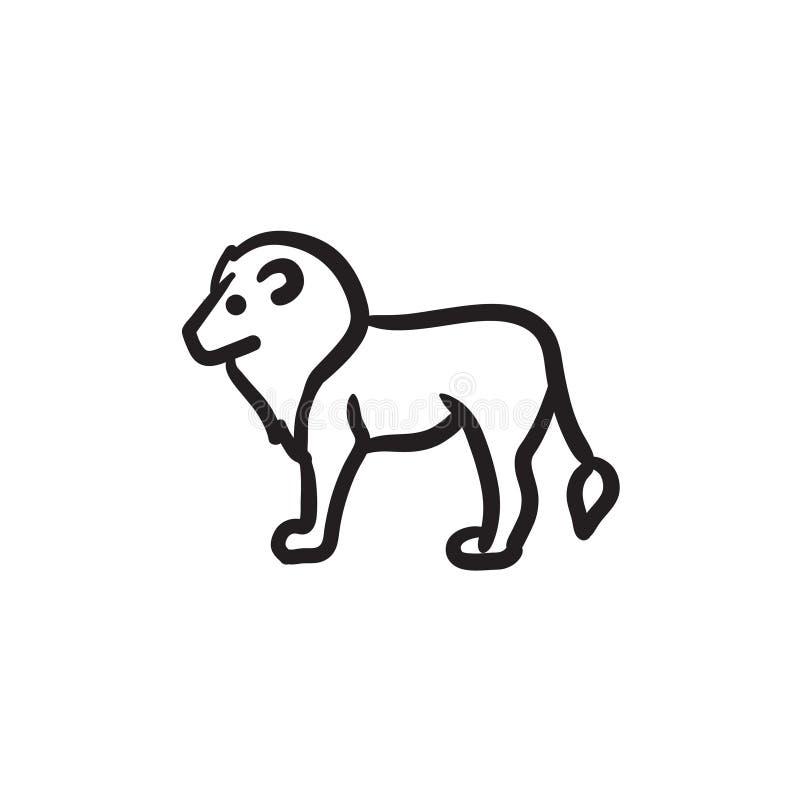 Lejonet skissar symbolen royaltyfri illustrationer