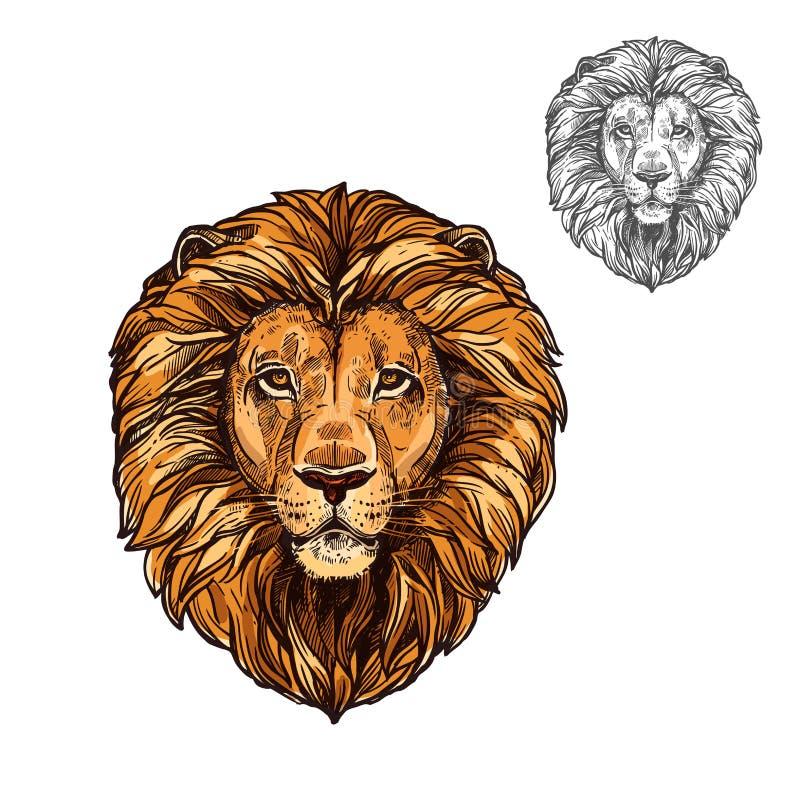 Lejonet tystar ned det afrikanska lösa djuret som vektorn skissar symbolen vektor illustrationer