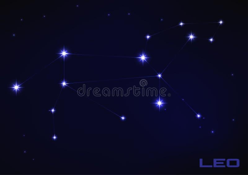 Lejonetkonstellation vektor illustrationer