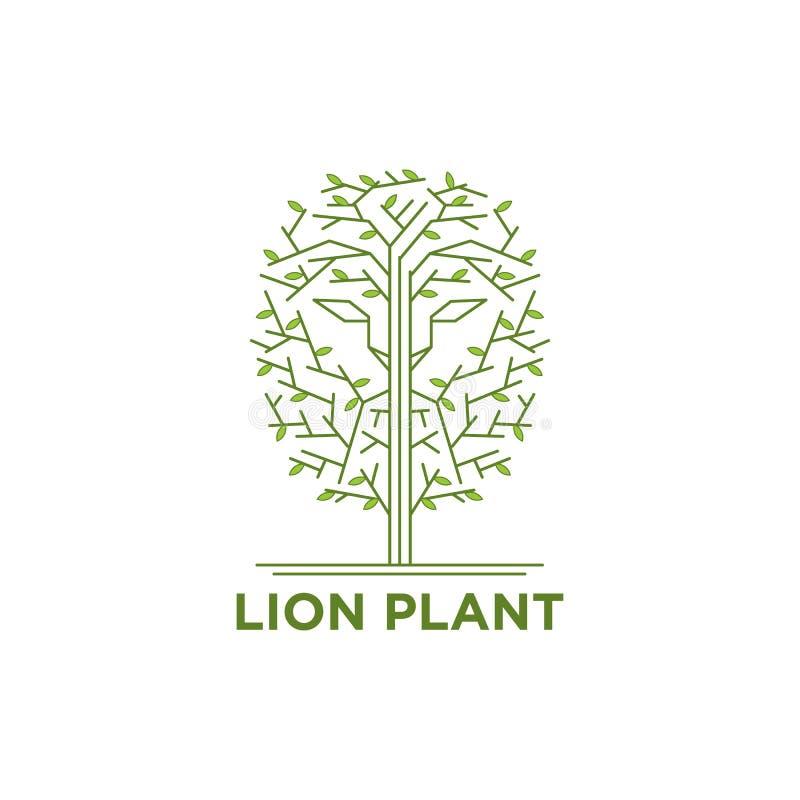 Lejonframsida i trädlogoen stock illustrationer