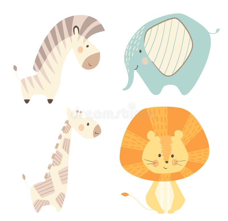 Lejongiraffet, sebran, elefant behandla som ett barn den gulliga tryckuppsättningen Sött zoodjur royaltyfri illustrationer
