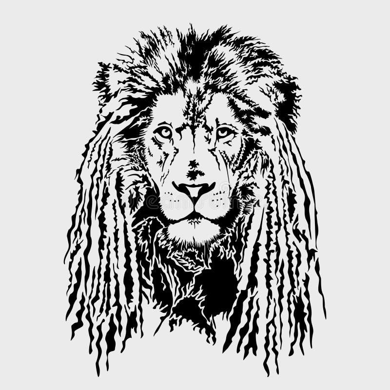 Lejonhuvud med dreadlocks - redigerbart vektordiagram stock illustrationer